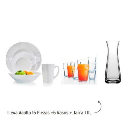 Vajilla 16 Piezas+6 Vasos + Jarra 1 Litros