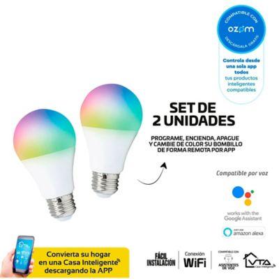 Setx2 Bombillo Led Inteligente   Wifi A60 9w RGB