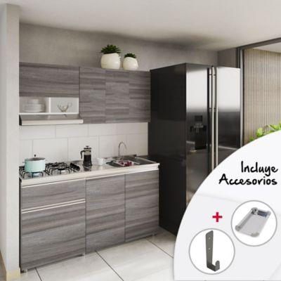 Cocina Siena 1.50 Metros Incluye Mesón Derecho En Acero Inoxidable Con Estufa De 4 Fogones a Gas Color Humo