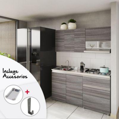Cocina Siena 1.50 Metros Incluye Mesón Izquierdo En Acero Inoxidable Con Estufa De 4 Fogones a Gas Color Humo