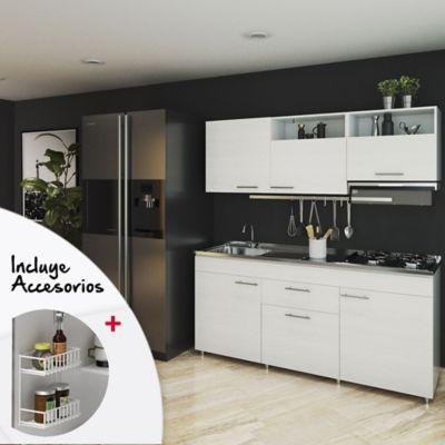 Cocina Sorrento  1.80 Metros +  Incluye Mesón Izquierdo en Acero Inoxidable radiante + Estufa De 4 Puestos a Gas