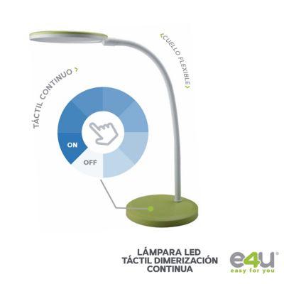 Lámpara Escritorio Led 7w Verde Luz Día 5000k