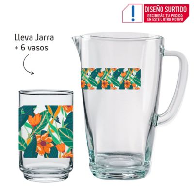 Set Jarra Y 6 Vasos Altos Decorados