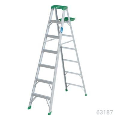 Escalera 2.1mt 6 Pasos Tijera/Bandeja Aluminio 102kg TII