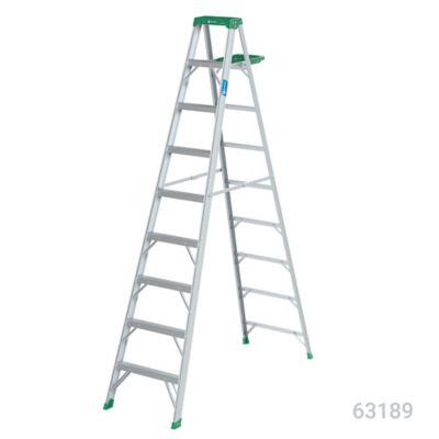 Escalera 2.7mt 8 Pasos Tijera/Bandeja Aluminio 102kg TII