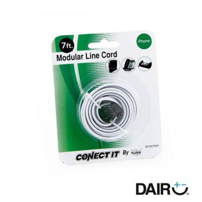 Cable teléfono 2,1 metros-7 ft blanco plano rj-11