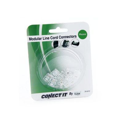 Conector teléfono 10 unidades plug rj-11