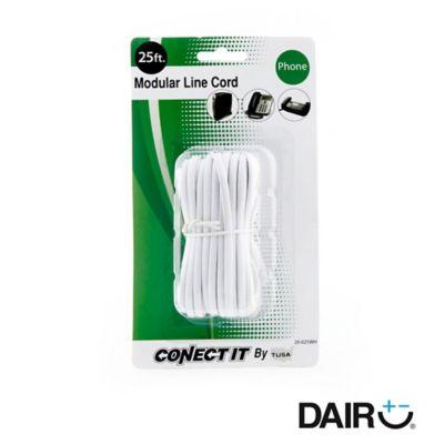 Cable teléfono 7,6 metros-25ft blanco plano rj-11