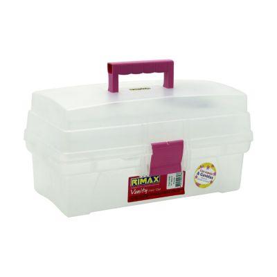 Caja Con Divisiones 35,8x18,5x19,6 cm Transparente-Rosado