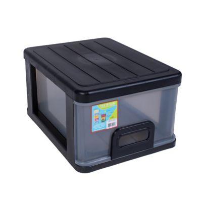 Cajón Apilable Con Tapa 33x23x43 cm Negro