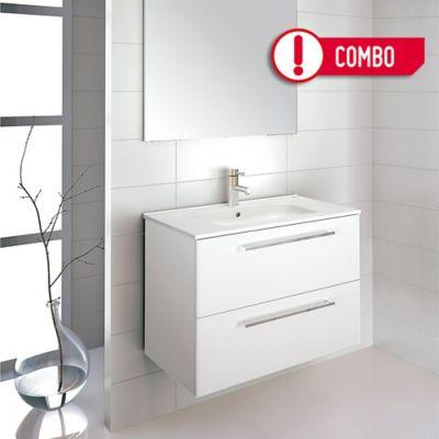 Mueble de Baño Easy 80x56x45 cm 2 Cajones Blanco + Lavamanos Slim  80x2x46 cm Cerámico - Blanco Royo