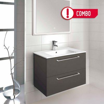 Mueble de Baño Easy 80x56x45 cm 2 Cajones Wengue + Lavamanos Slim  80x2x46 cm Cerámico - Blanco Royo