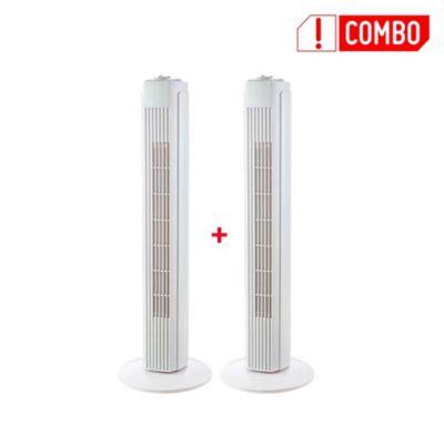 Set X2 Ventiladores de Torre 32 Pulgadas3 Velocidades Blanco FZ30