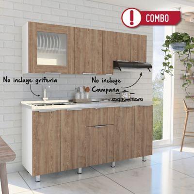 Cocina Integral 1.80 metros Louise 9 Puertas 1 Cajón Miel + Mesón Radiante 180x52 cm con 4 Puestos a Gas Poceta Izquierda Monocontrol Acero Inoxidable