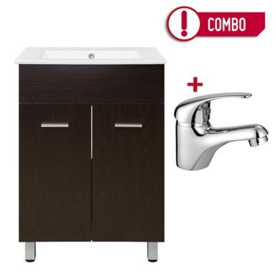 Mueble para Baño 60 cm con Lavamanos Abrantes Wengue + Grifería para Lavamanos Monocontrol Bajo Perugia