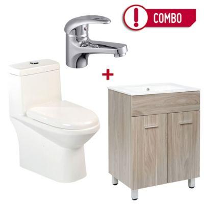 Mueble para Baño 60 cm con Lavamanos Abrantes Gris + Sanitario de Una Pieza Ferrara + Grifería para Lavamanos Monocontrol Baja Karson