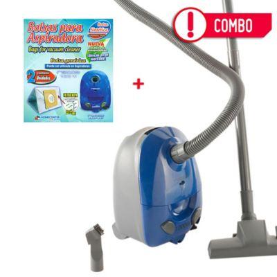 Combo Aspiradora De Arrastre 1.5 Litros Rasp-W017 Azul + Set X 2 Bolsas De Repuesto Para Aspiradora Recco EC813-1000