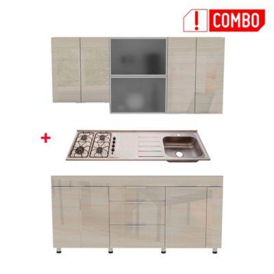 Proyecto Cocina Milano 1.80 Metros Mueble Superior Claro + Mesón Radiante 4 Fogones Derecho
