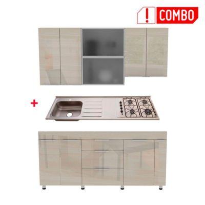 Proyecto Cocina Milano 1.80 Metros Mueble Superior Claro + Mesón Radiante 4 Fogones Izquierdo