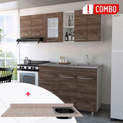 Cocina Integral Kira 1.20 metros + Mesón para Cocina Postformado 120x52 cm con Poceta Derecha Jaspe Claro