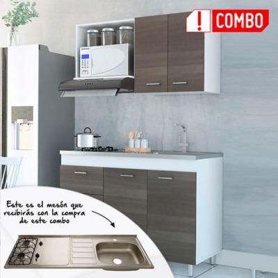 Cocina Integral Rossi 1.20 metros + Mesón Radiante 120x52 cm con 2 Puestos a Gas Poceta Derecha Monocontrol Acero Inoxidable