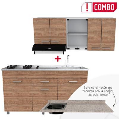 Cocina Integral Sicilia Miel 1.50 metros + Mesón para Cocina Postformado 150x52 cm con Poceta Izquierda Jaspe Claro