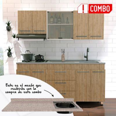 Cocina Integral Bari 1.80 metros Miel + Mesón para Cocina Postformado 180x52 cm con Poceta Derecha Jaspe Claro