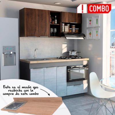 Proyecto Cocina Integral Halley 1.50 Metros + Salpicadero Rovere + Mesón Laminado Derecho