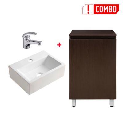 Combo Mueble De Baño + Lavamanos Cuadrado + Grifería Para Lavamanos Bajo Almagro