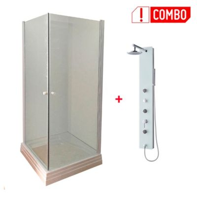 Combo Columna de ducha de vidrio 3 Hidrojets + Cabina de ducha Básica II 80x80x200 cm