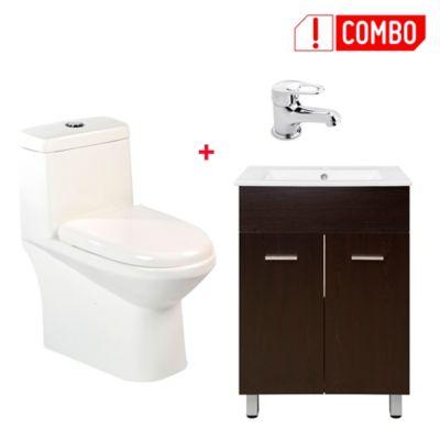 Combo Mueble de Baño Abrantes Wengue con Lavamanos + Grifería Lavamanos Monocontrol Baja + Sanitario una pieza Ferrara