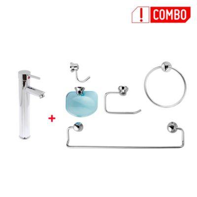 Combo Grifería lavamanos monocontrol alta Milán +  Kit de accesorios Sicilia 5 piezas