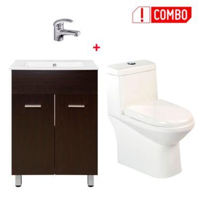 Combo Sanitario Una Pieza Ferrara + Mueble de Baño Abrantes Wengue con Lavamanos + Grifería Lavamanos Monocontrol Almagro Baja