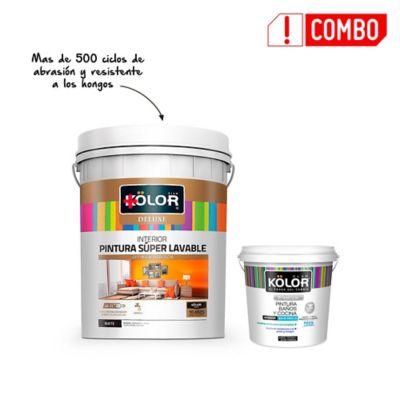 Pintura Kolor Deluxe Interior Blanco  5 Galones + Pintura Baños Y Cocinas Kolor Blanco 1 Galón