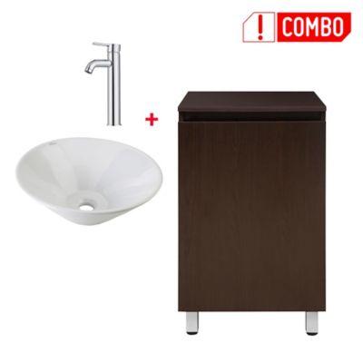 Combo grifería para lavamanos Monocontrol Alta + lavamanos Vessel + mueble de baño Seia