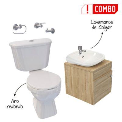 Combo Mueble de Baño con Lavamanos Accent 41.5x40x42 centímetros Duna + Grifería Lavamanos Sencilla Sevilla + Kit de Baño Tao Single sin pedestal + Kit Accesorios 3 Piezas para Baño