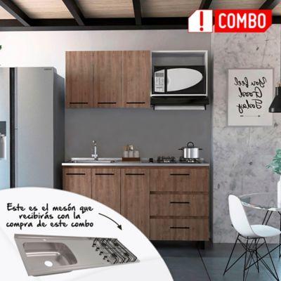 Cocina Integral Calathea 1.50 Metros + Mesón Izquierdo Acero Inoxidable 4 Fogones A Gas