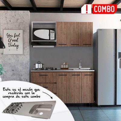 Cocina Integral Calathea 1.50 Metros + Mesón Derecho Acero Inoxidable 4 Fogones A Gas