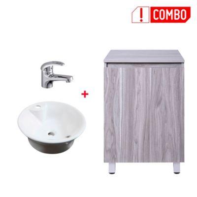 Combo Mueble De Baño Seia Nuez + Lavamanos Porcelana Vessel Parm Circular + Grifería Monocontrol Baja Almagro