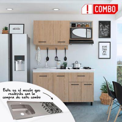 Cocina Integral Alani 1.50 Metros Incluye  Mesón En Acero Inoxidable de sobreponer 150x 50 cm 4 Fogones A Gas Poceta Izquierda