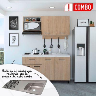 Cocina Integral Alani 1.50 Metros Incluye Mesón En Acero Inoxidable de sobreponer 150x 50 cm 4 Fogones A Gas Poceta Derecha