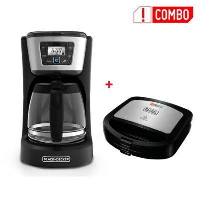 Combo Sanduchera Panini Antiadherente SM24530 + Cafetera Digital Programable 12 Tazas Negro CM2031B