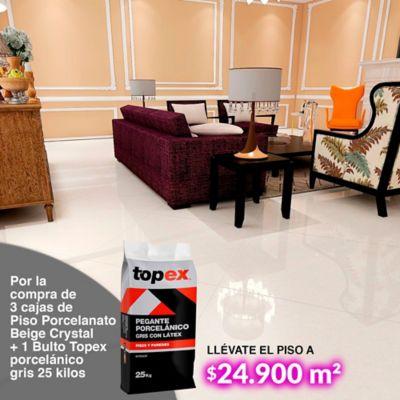 Por la compra de 3 cajas de Piso Porcelanato Beige Crystal + 1 Bulto Topex porcelánico gris 25 kilos, llévate el piso a $24.900 m2