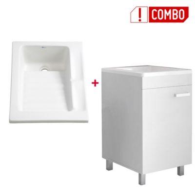Combo Mueble Lavadero Valento 85x44.8x59 cm + Lavarropas Eco 48x60 cms