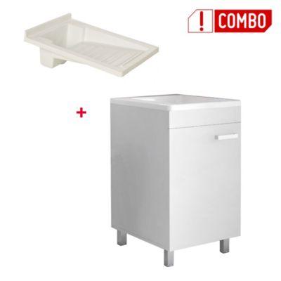Combo Mueble Lavadero Valento 85x44.8x59 cm + Lavadero Plastico de 60x46 Tipo Flauta