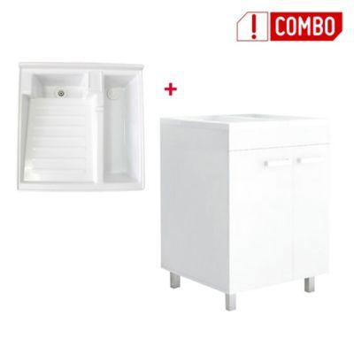 Combo Mueble Lavadero Valento 85x59x59 cm + Lavadero Plastico de 60x60 Con Tanque