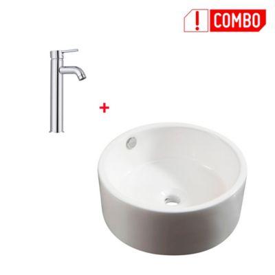 Combo Lavamanos Porcelanico Vessel Bari Circular + Grifería Lavamanos Monocontrol Alta