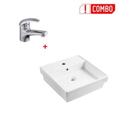 Combo Lavamanos Porcelanico Cuadrado + Grifería Lavamanos Monocontrol Bajo Almagro