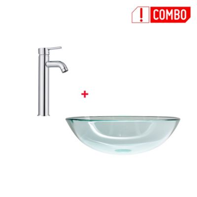 Combo Lavamanos Vessel Vidrio Templado + Grifería Lavamanos Monocontrol Alta