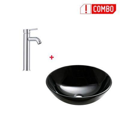 Combo Lavamanos Vessel Vidrio Negro Templado + Grifería Lavamanos Monocontrol Alta
